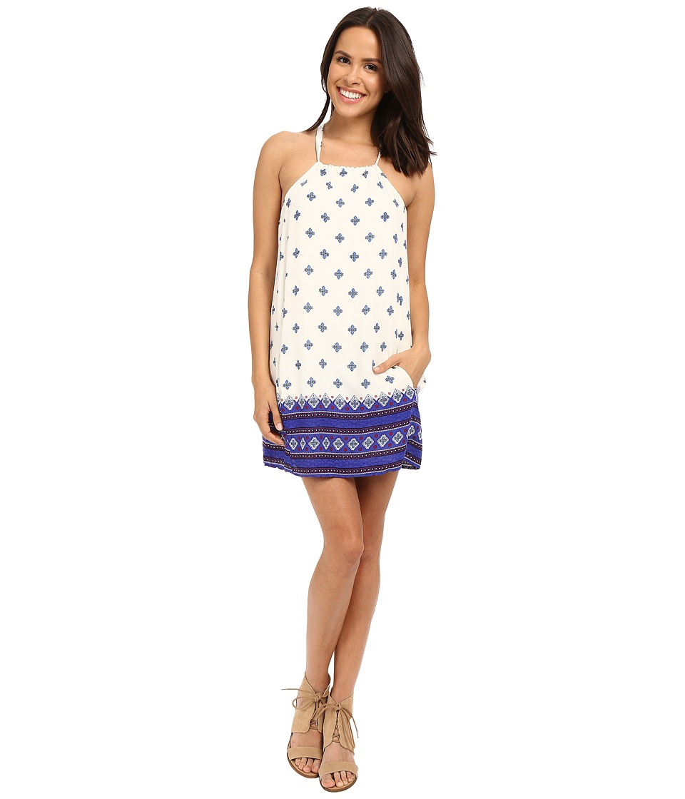 Brigitte Bailey - Ivana High Neck Printed Dress (Ivory/Blue) Women's Dress