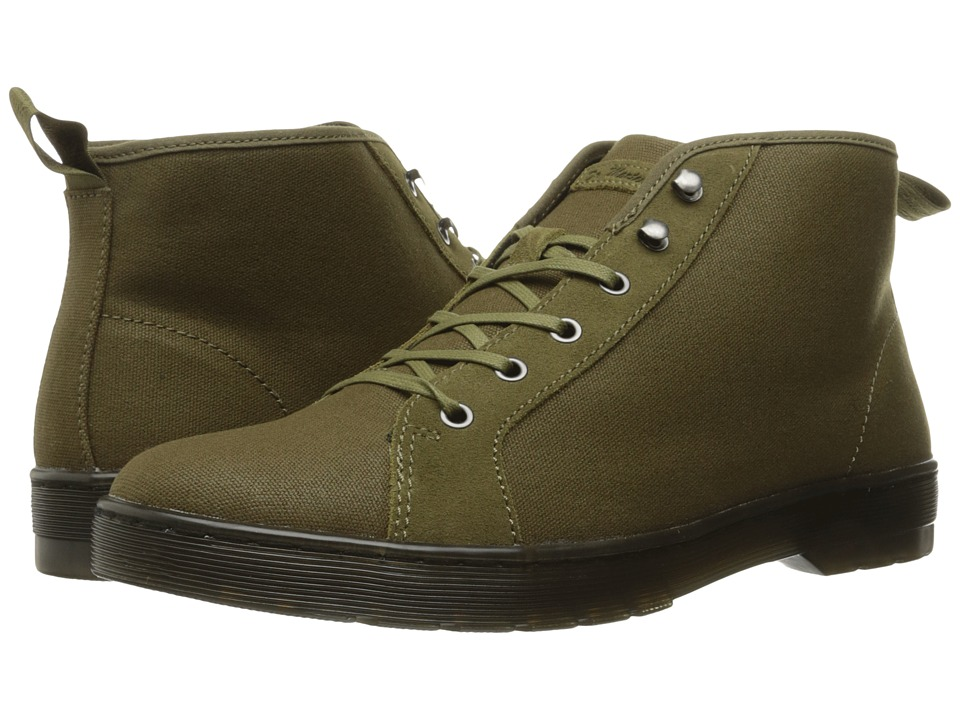 Dr. Martens - Coburg 6-Eye Waxy Canvas LTT Boot (Grenade Green 12oz. Waxy Canvas/Hi Suede WP) Lace-up Boots