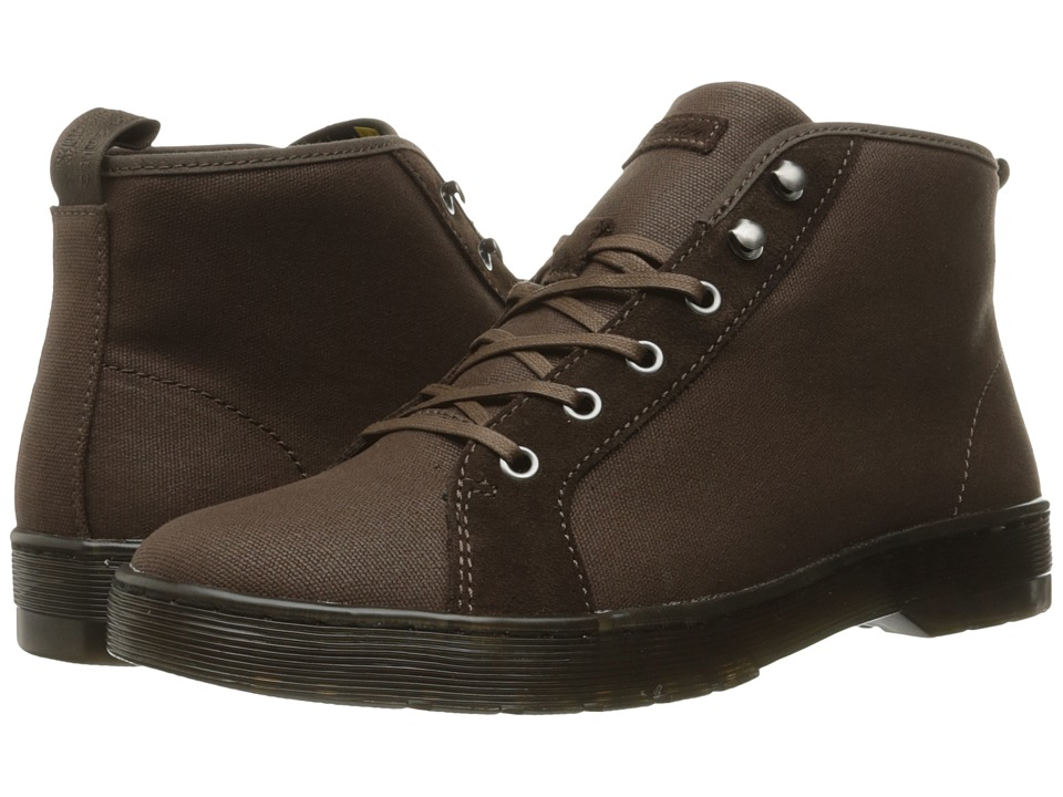 Dr. Martens - Coburg 6-Eye Waxy Canvas LTT Boot (Dark Brown 12oz. Waxy Canvas/Hi Suede WP) Lace-up Boots