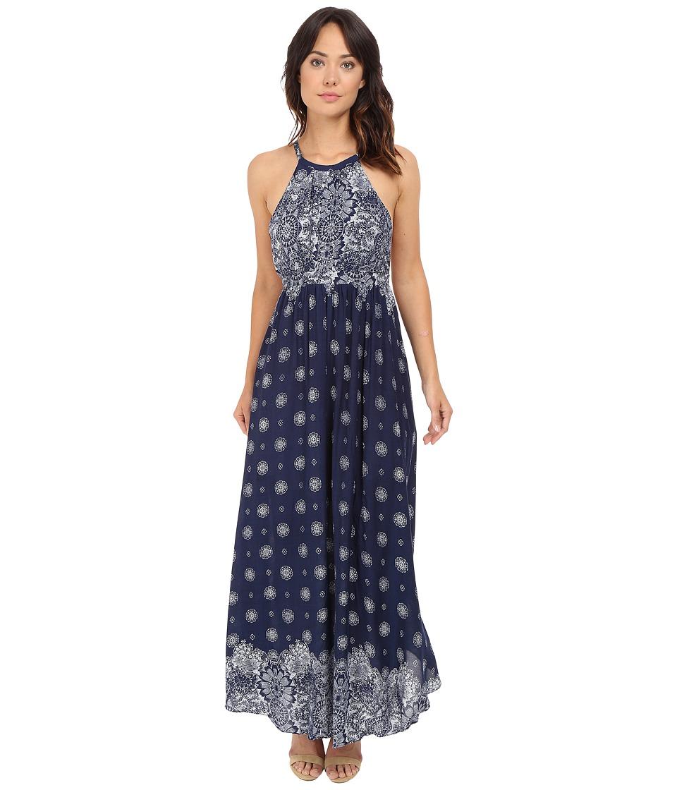 Brigitte Bailey - Diem Printed Maxi Dress (Navy/Off-White) Women's Dress