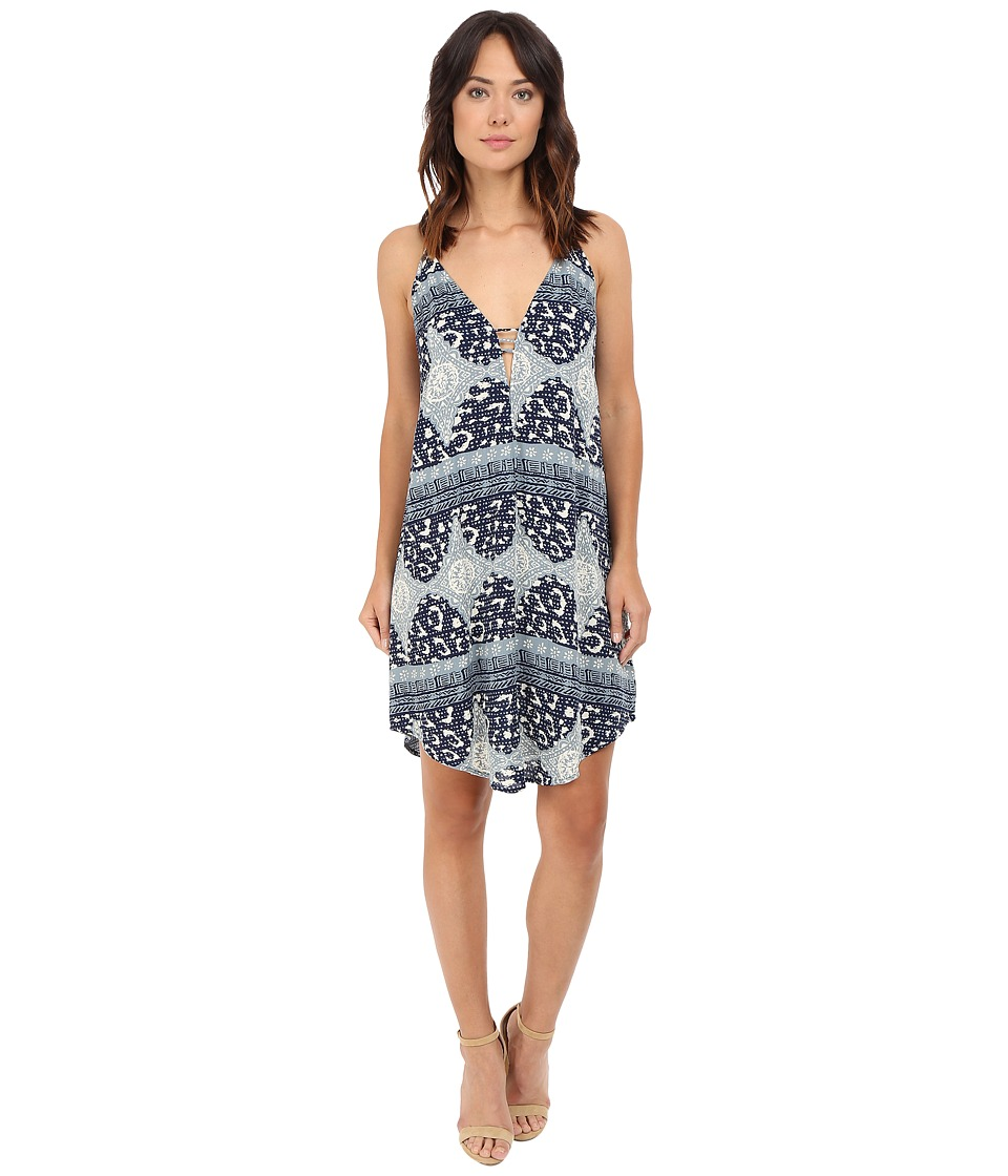 Brigitte Bailey - Dina V-Neck Spaghetti Strap Dress (Blue/Beige) Women's Dress