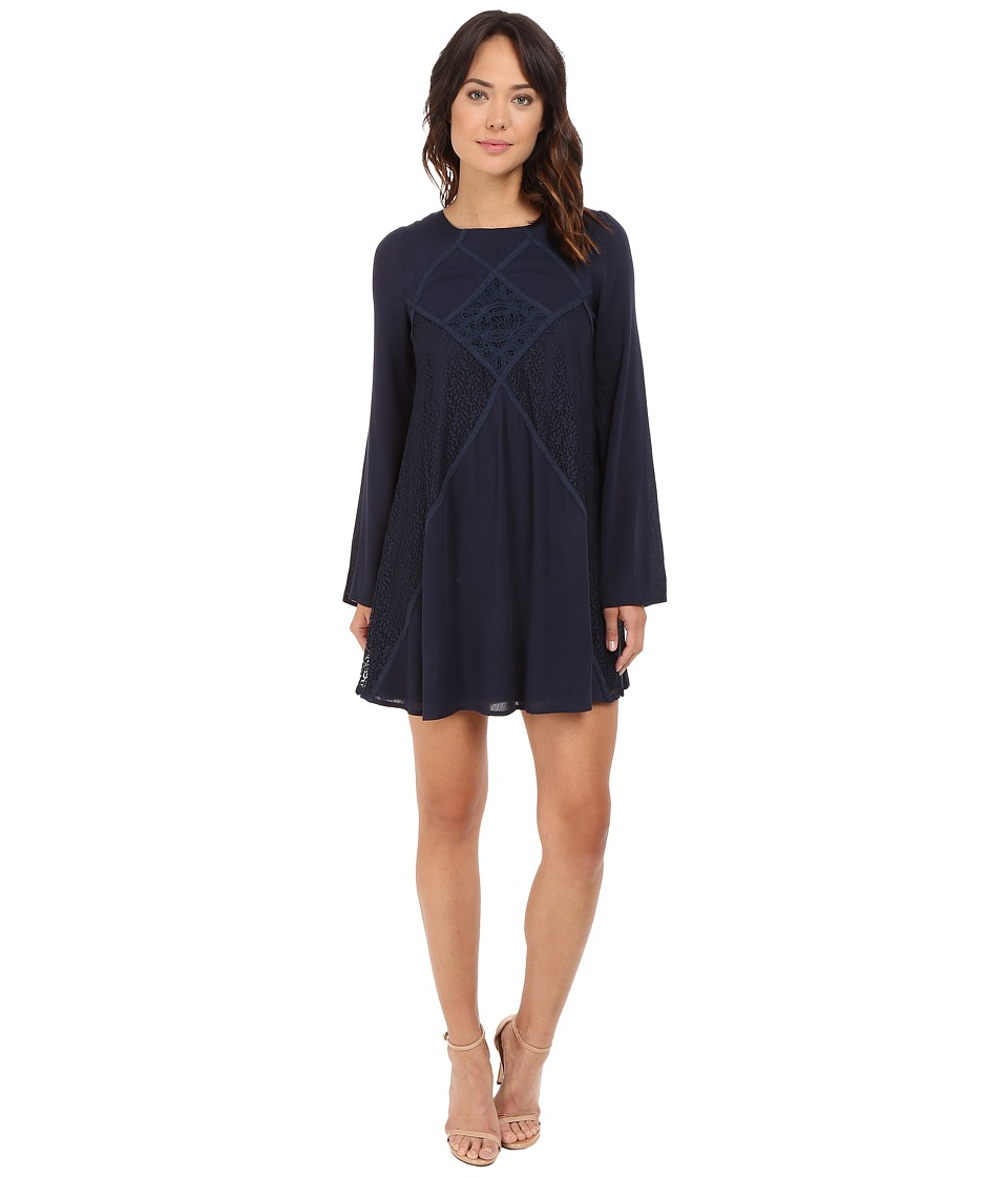 Brigitte Bailey - Naya Long Sleeve Dress with Lace Detail (Navy) Women's Dress