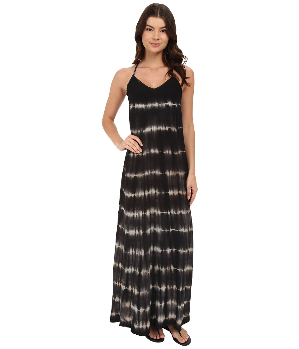 Brigitte Bailey - Addilyn Tie-Dye Maxi Dress with Cut Out Back (Black/Off-White) Women's Dress