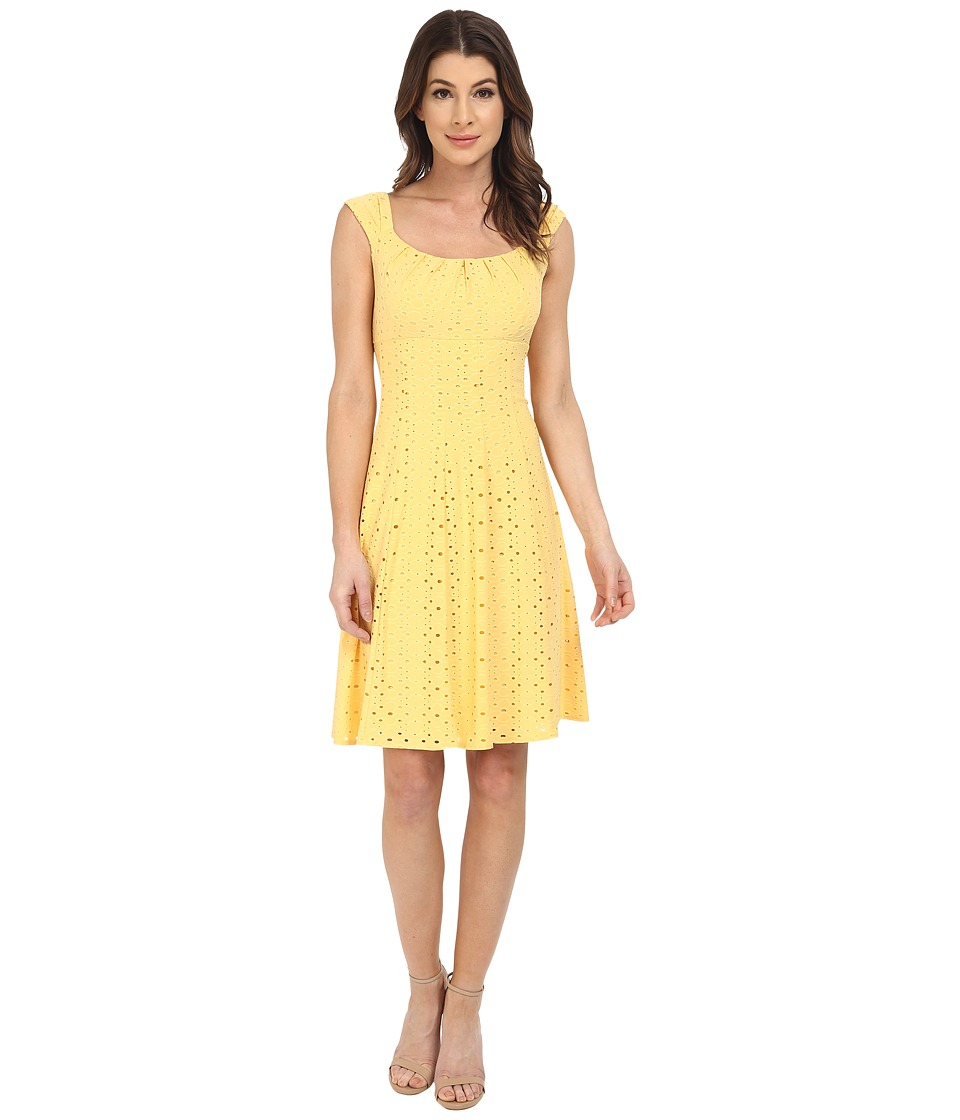 London Times - Cap Sleeve Pleated Neck Fit and Flare (Yellow) Women