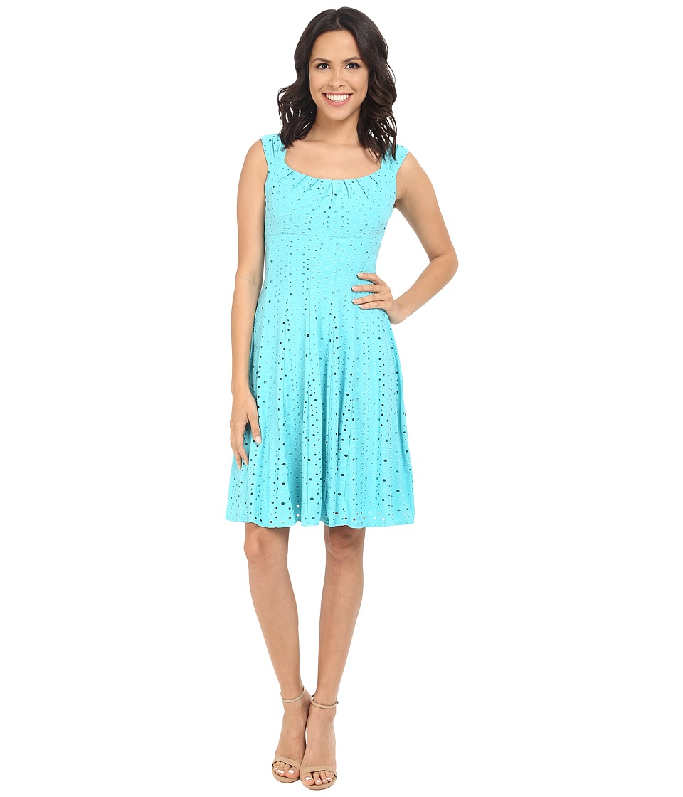 London Times - Cap Sleeve Pleated Neck Fit and Flare (Vivid Blue) Women's Dress