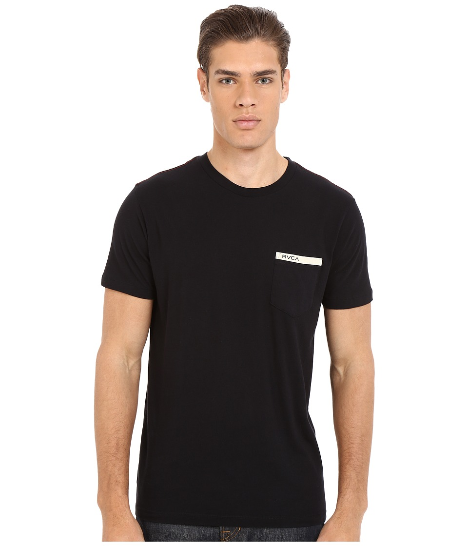 RVCA - Stripped Pocket Tee (Black) Men's T Shirt