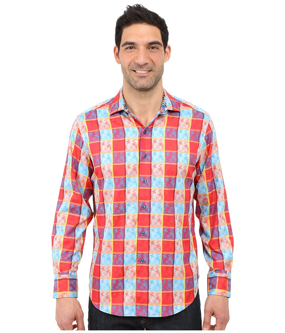 Robert Graham - Jigsaw Sport Shirt (Red) Men's Long Sleeve Pullover