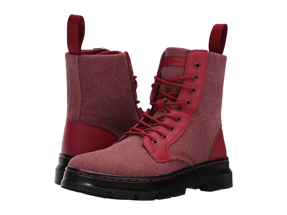 Dr. Martens Combs Fold Down Boot (Red 16oz. Washed Canvas/Kanga) Boots