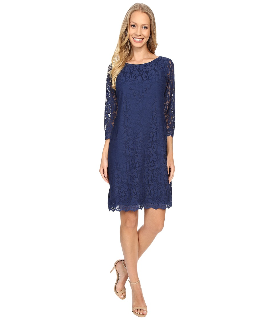 London Times - Lace 3/4 Sleeve Shift (Navy) Women's Dress