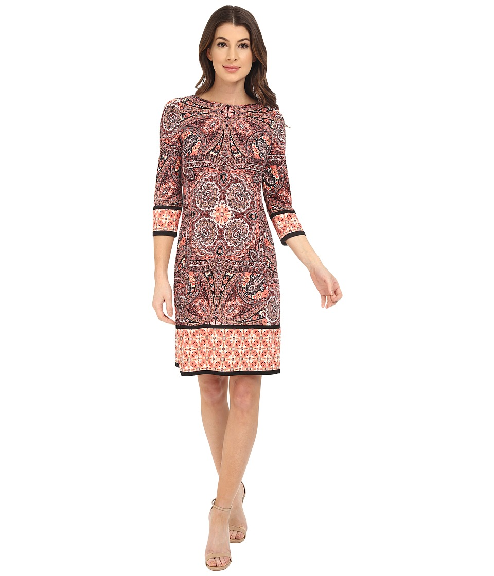 London Times - Long Sleeve Printed Shift (Coral Multi) Women's Dress