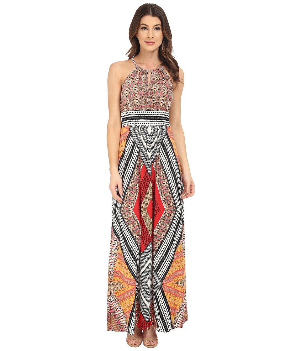 London Times - Sleeveless Keyhole Halter Maxi (Coral Red) Women