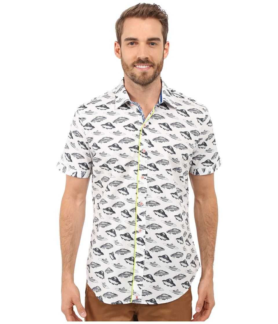 Robert Graham - Spaceships Short Sleeve Shirt (White) Men's Short Sleeve Button Up