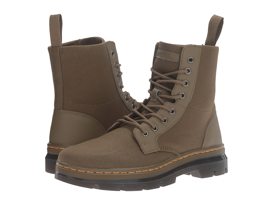 Dr. Martens Combs 8-Eye Boot (Grenade Green 12ox. Waxy Canvas/Kanga) Lace-up Boots