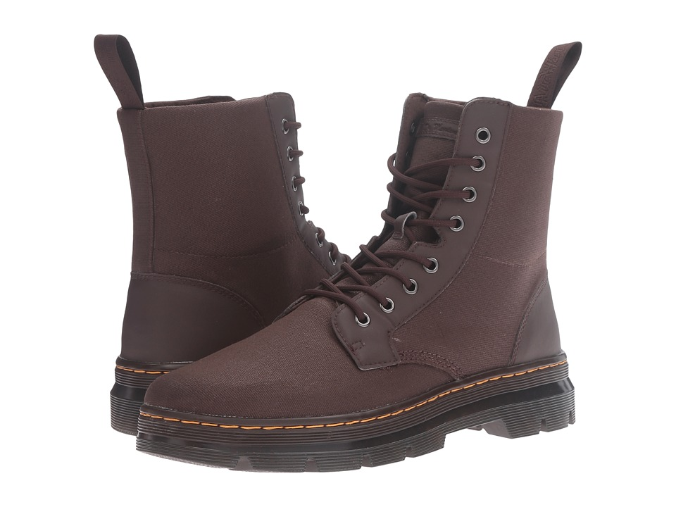 Dr. Martens - Combs 8-Eye Boot (Dark Brown 12oz. Waxy Canvas/Kanga) Lace-up Boots