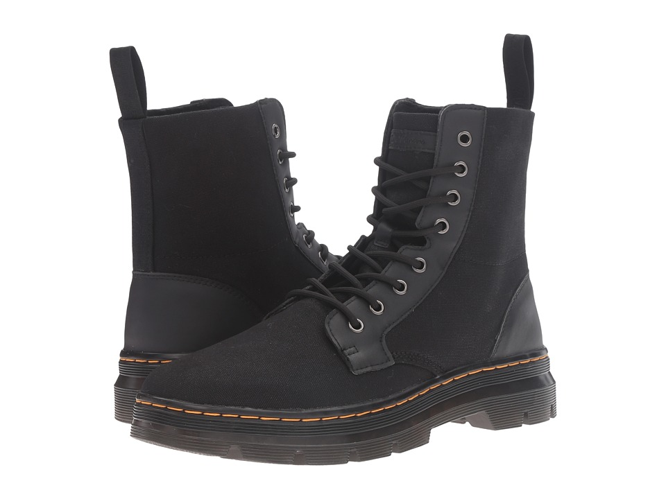 Dr. Martens - Combs 8-Eye Boot (Black 12oz. Waxy Canvas/Kanga) Lace-up Boots