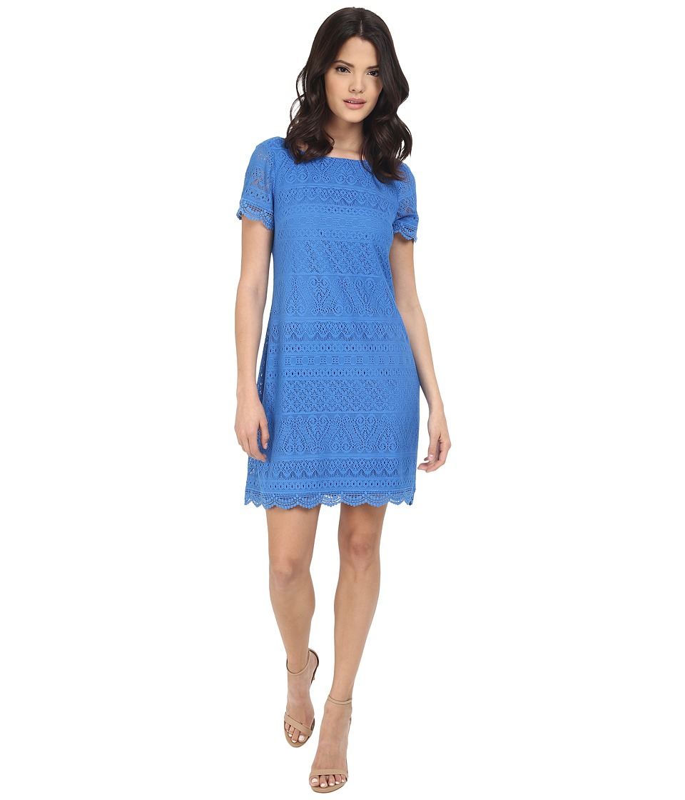 London Times - Short Sleeve Shift (Blue) Women's Dress