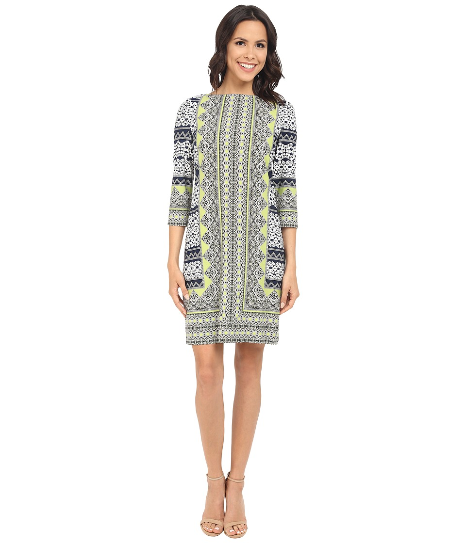 London Times - Long Sleeve Sheath (Navy/Lime) Women's Dress