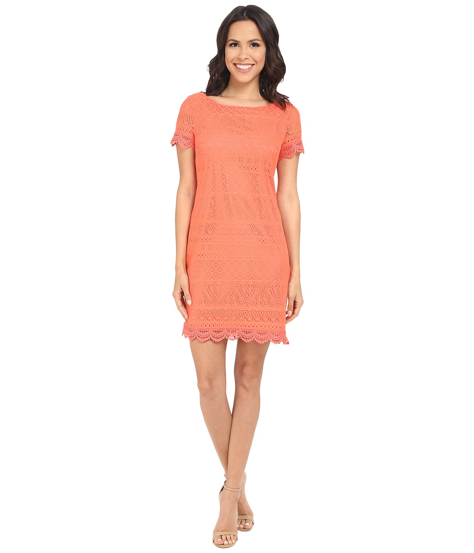 London Times - Short Sleeve Shift (Coral) Women's Dress