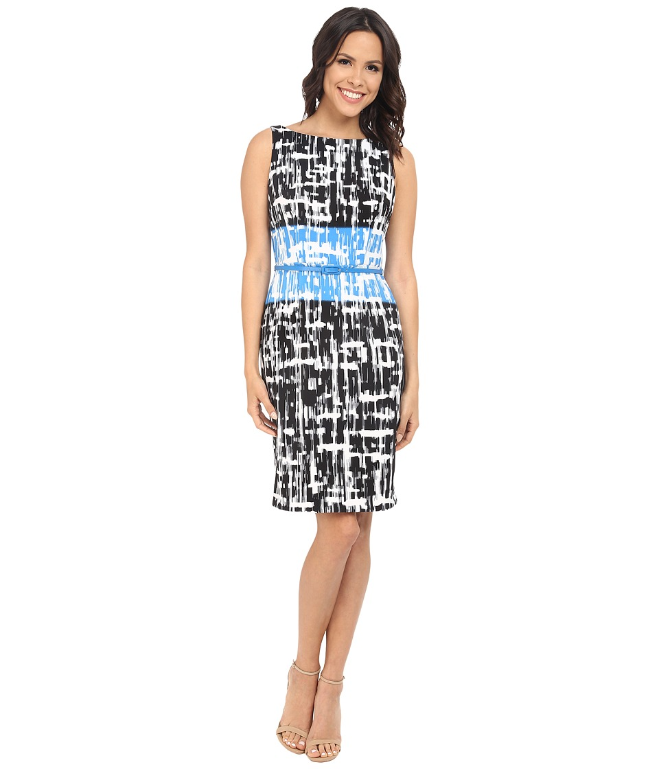 London Times - Brushed Twin Geo Sheath (Black/Blue) Women's Dress