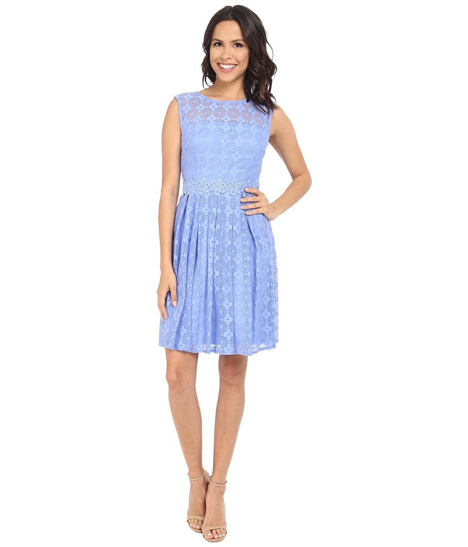 London Times - Daisy Dot Cap Sleeve Full Skirt (Periwinkle) Women's Dress