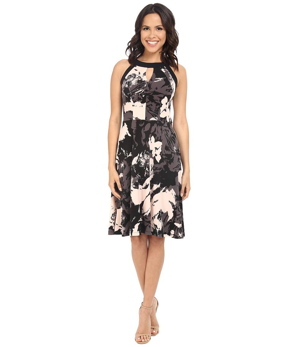 London Times - Sleeveless Halter Full Skirt (Black/Peach) Women's Dress