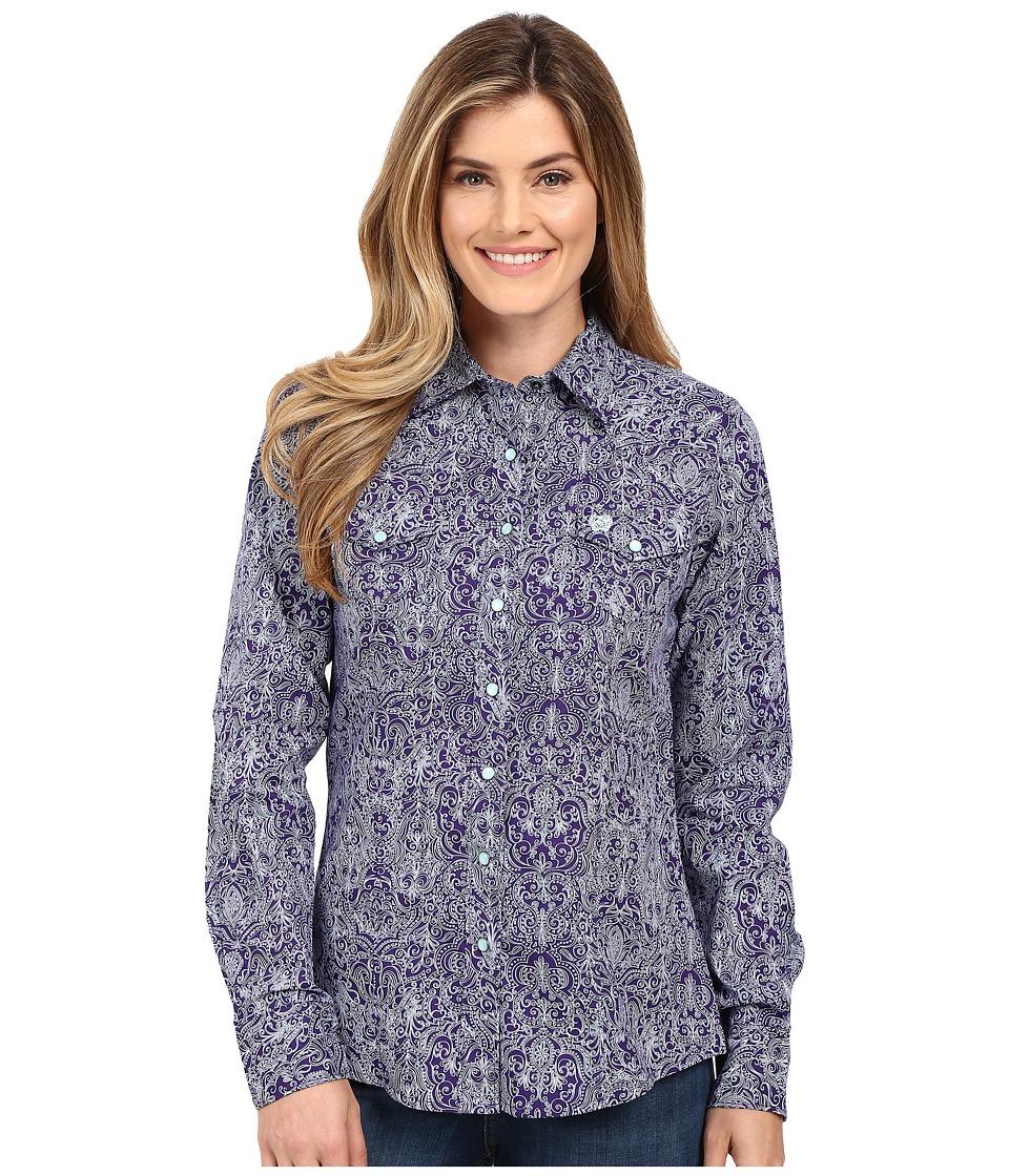 Cinch - Cotton Plain Weave Fit (Purple) Women's Long Sleeve Button Up