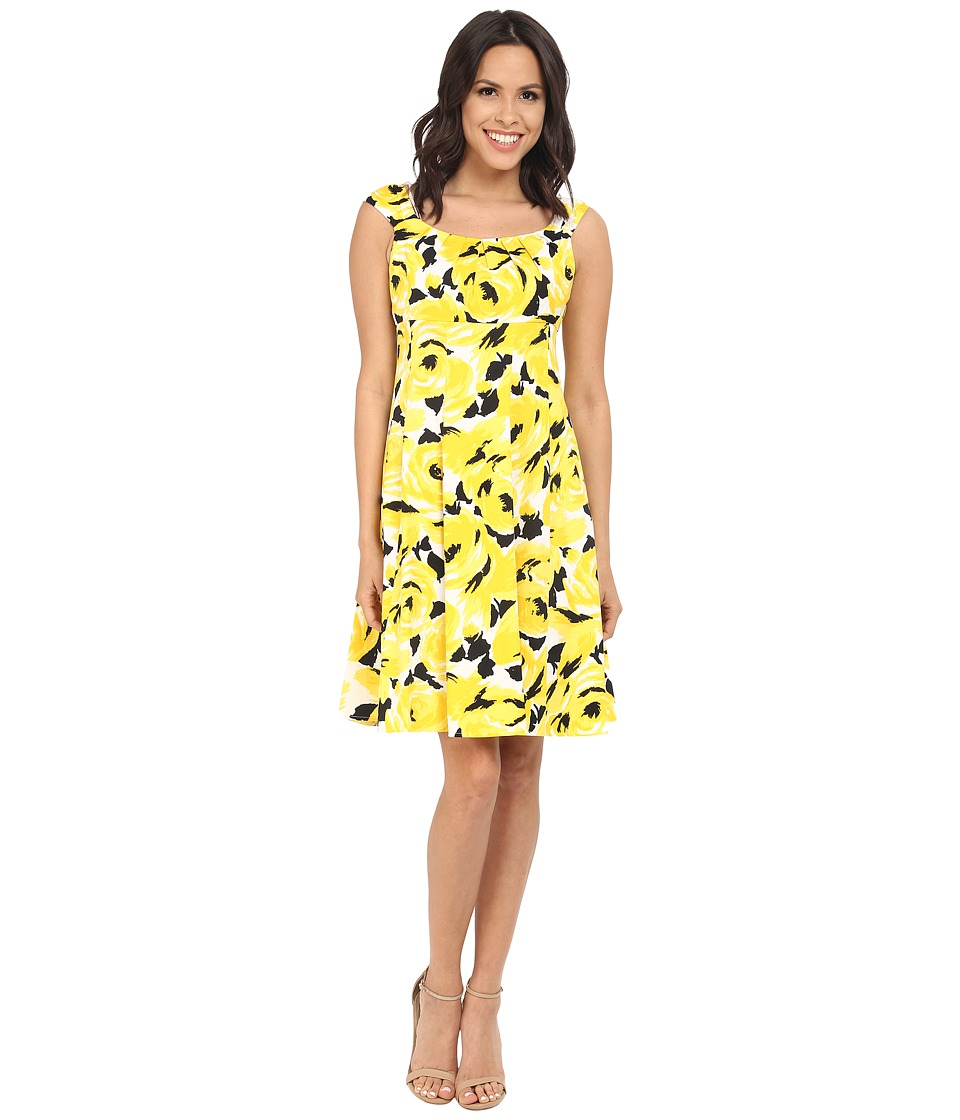London Times - Printed Cotton Sateen Fit and Flare (Yellow) Women's Dress