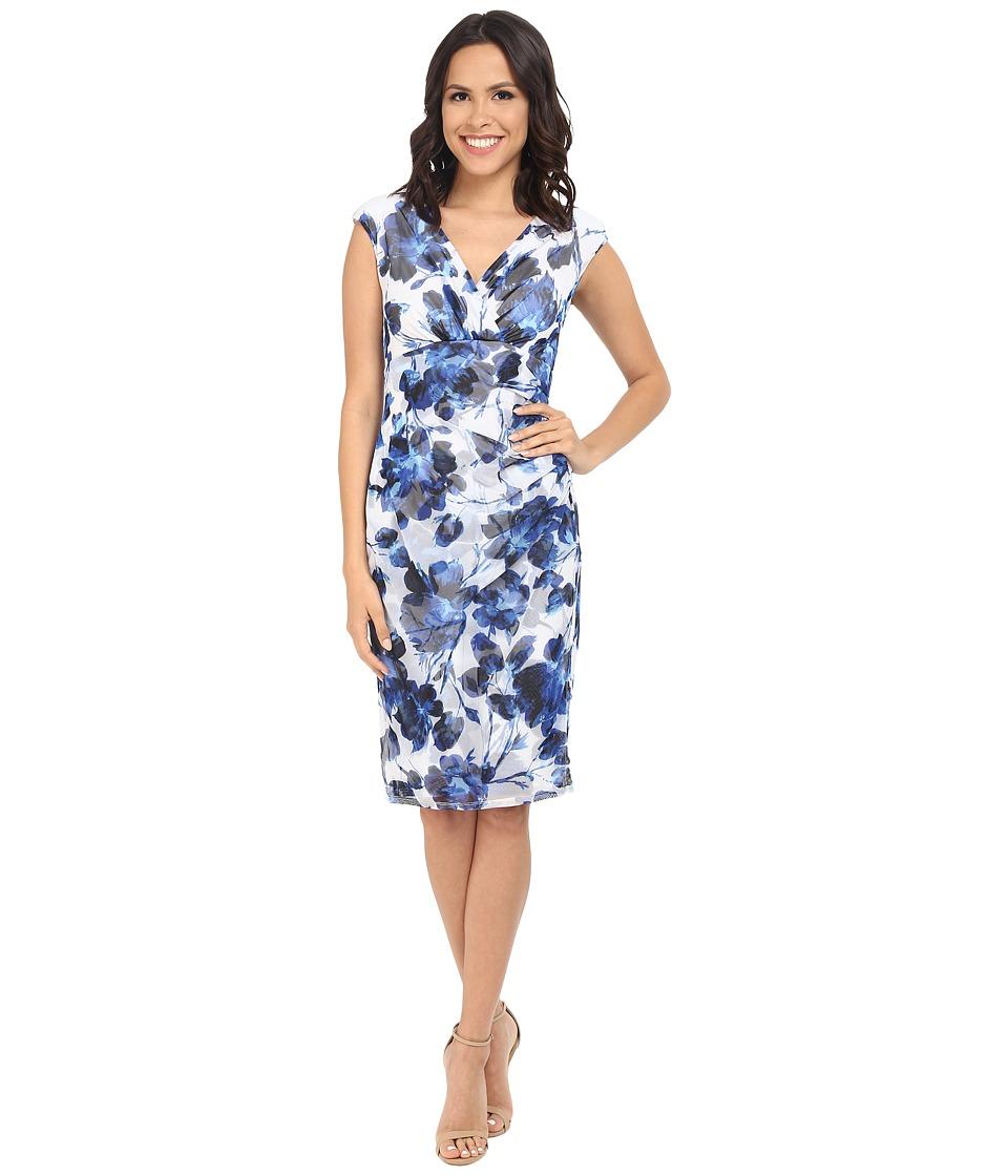 London Times - V-Neck Cap Sleeveless Side Ruched Sheat (Blue) Women's Dress