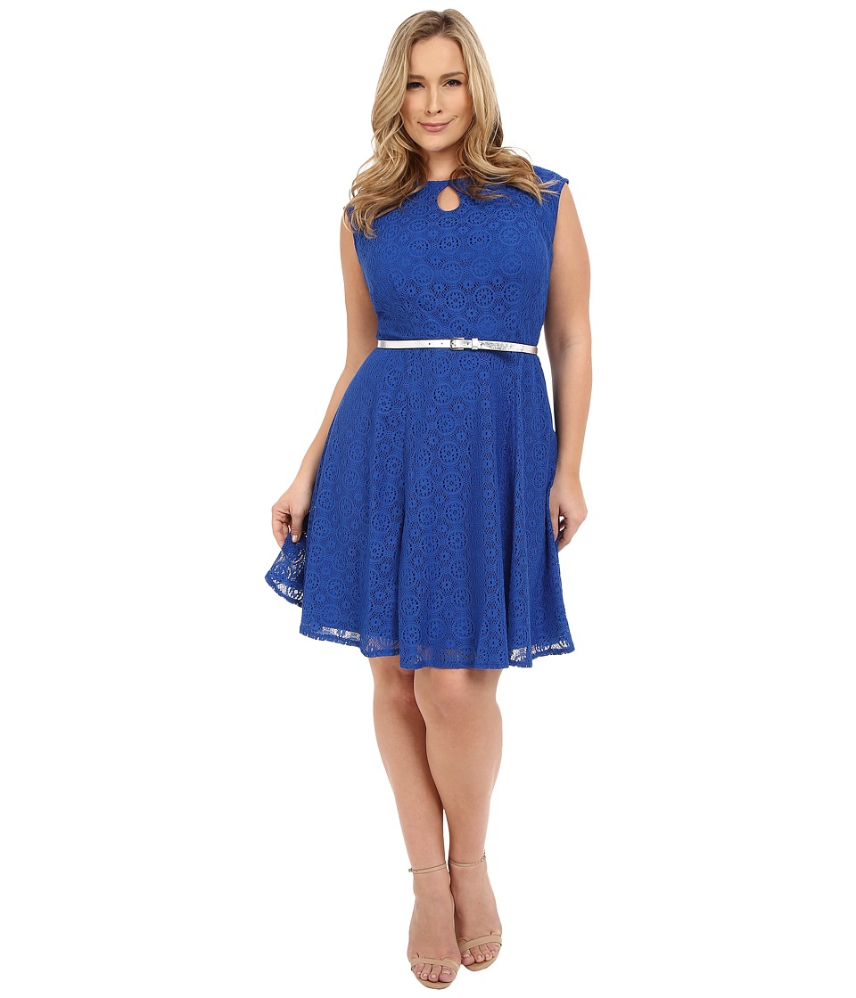 London Times - Plus Size Cap Sleeve Keyhole Tie Fit Flare (Egyptian Blue) Women's Dress