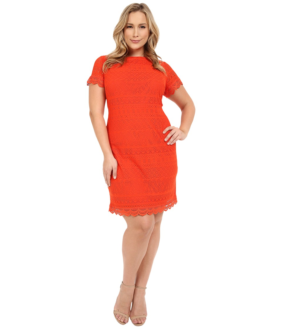 London Times - Plus Size Short Sleeve Shift (Tangelo) Women's Dress