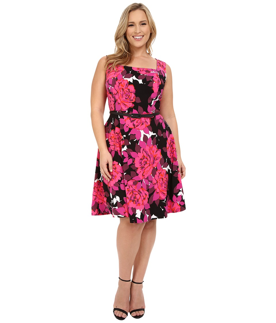 London Times - Plus Size Cluster Rose Fit and Flare (Soft White/Black/Hot Pink) Women's Dress