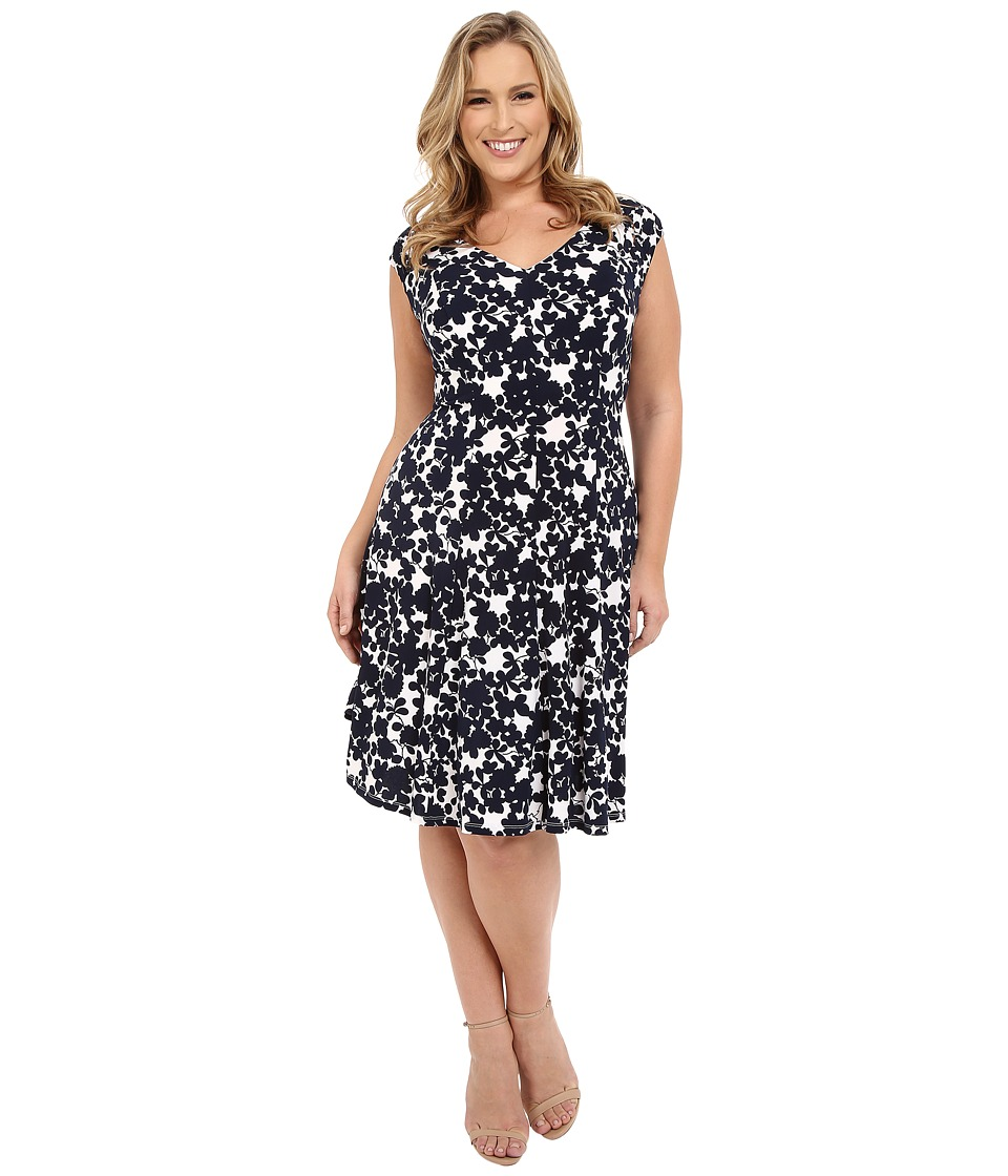 London Times - Plus Size Shirred Shoulder Fit and Flare (Soft White/Navy) Women's Dress