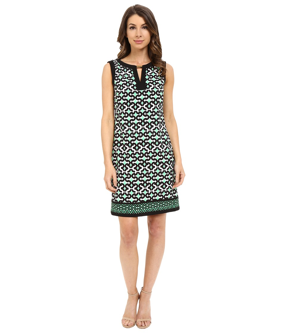 London Times - Sleeveless Keyhole Blocked Neck Shift (Black/Green) Women's Dress