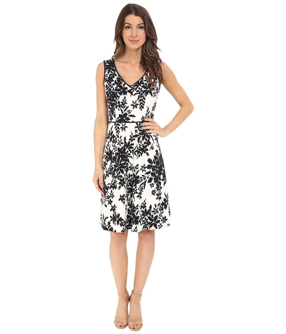 London Times - Ikat Branch Full Skirt (White/Black) Women's Dress