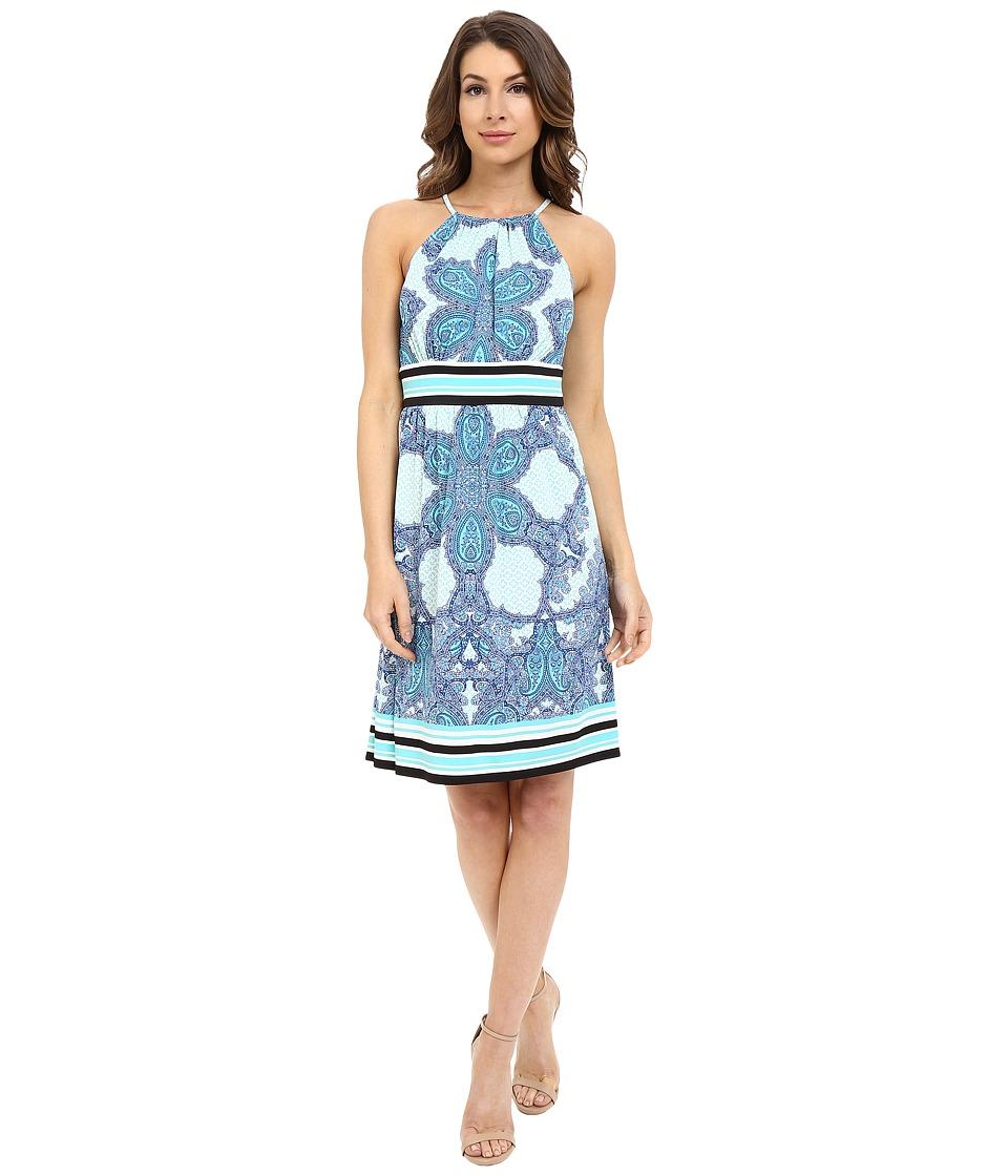 London Times - Keyhole Halter Empire Waist (Aqua) Women's Dress