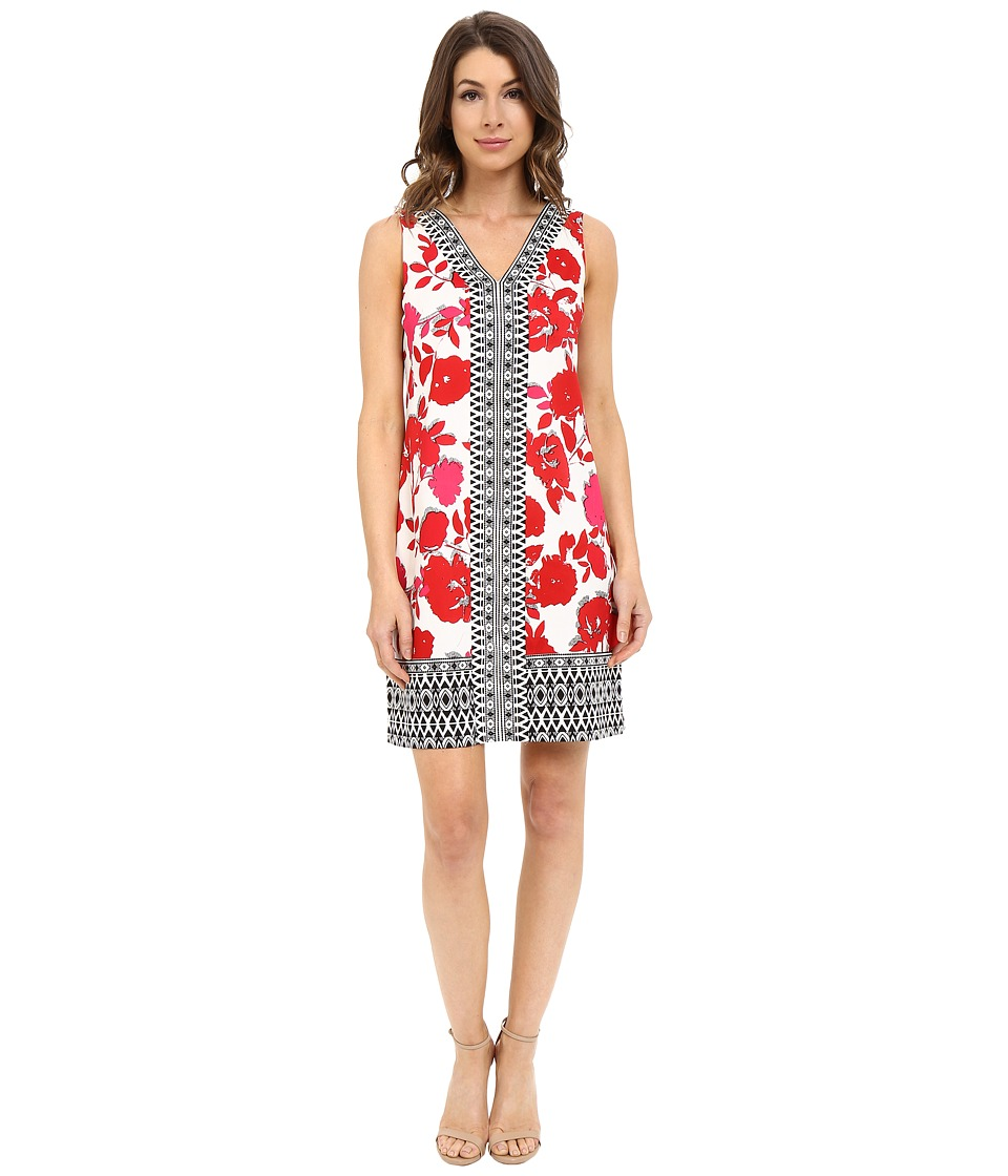 London Times - Cut Out Border V-Neck Shift (White Coral) Women's Dress