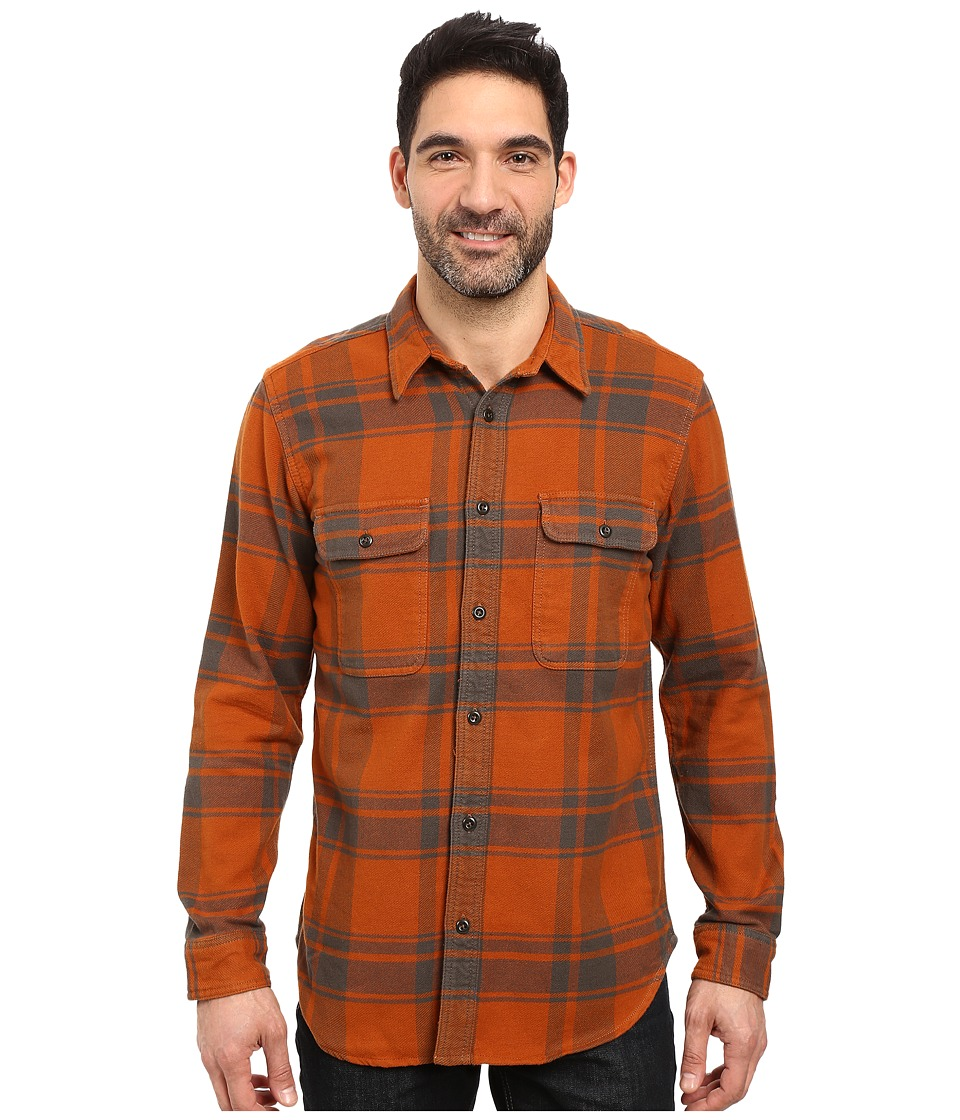 Filson - Vintage Flannel Work Shirt (Orange/Charcoal) Men's Clothing