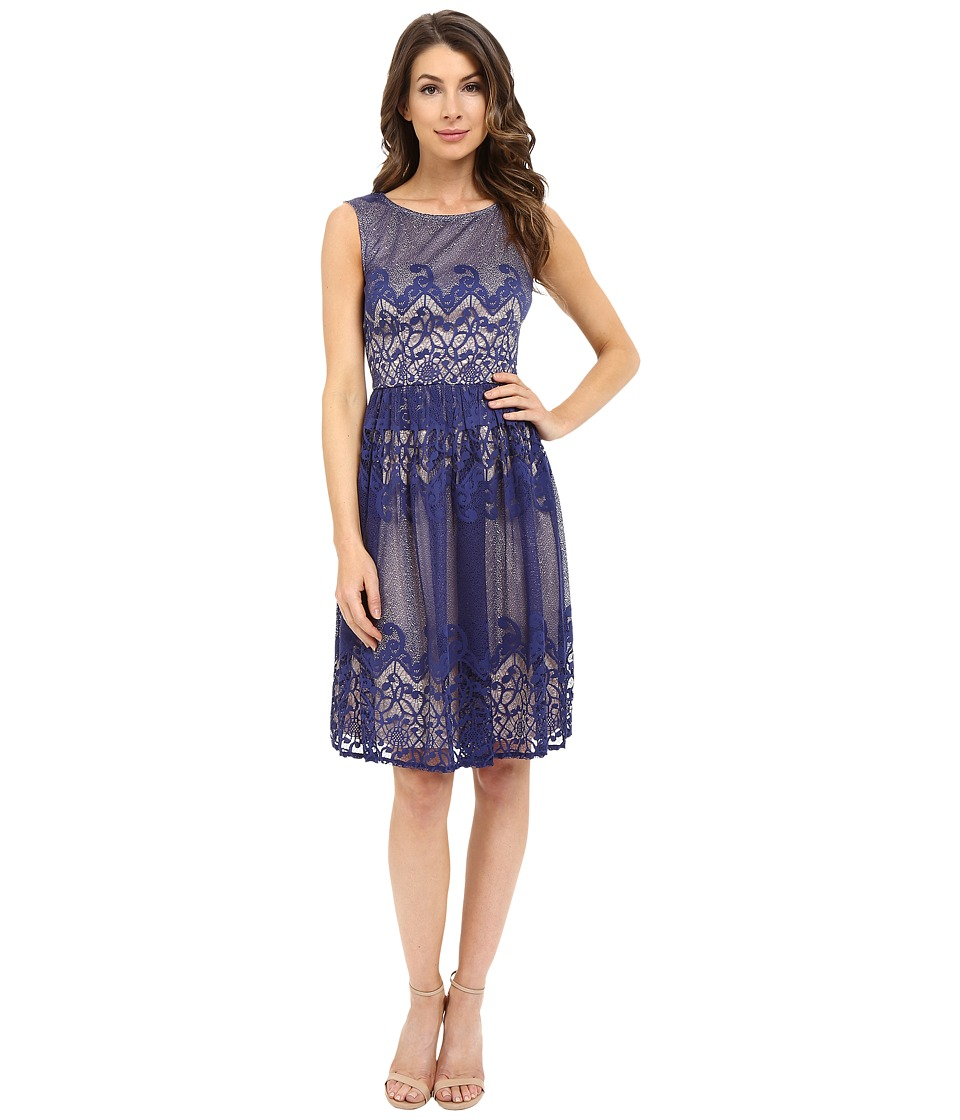 London Times - Scroll Stripe Full Skirt (Navy) Women's Dress