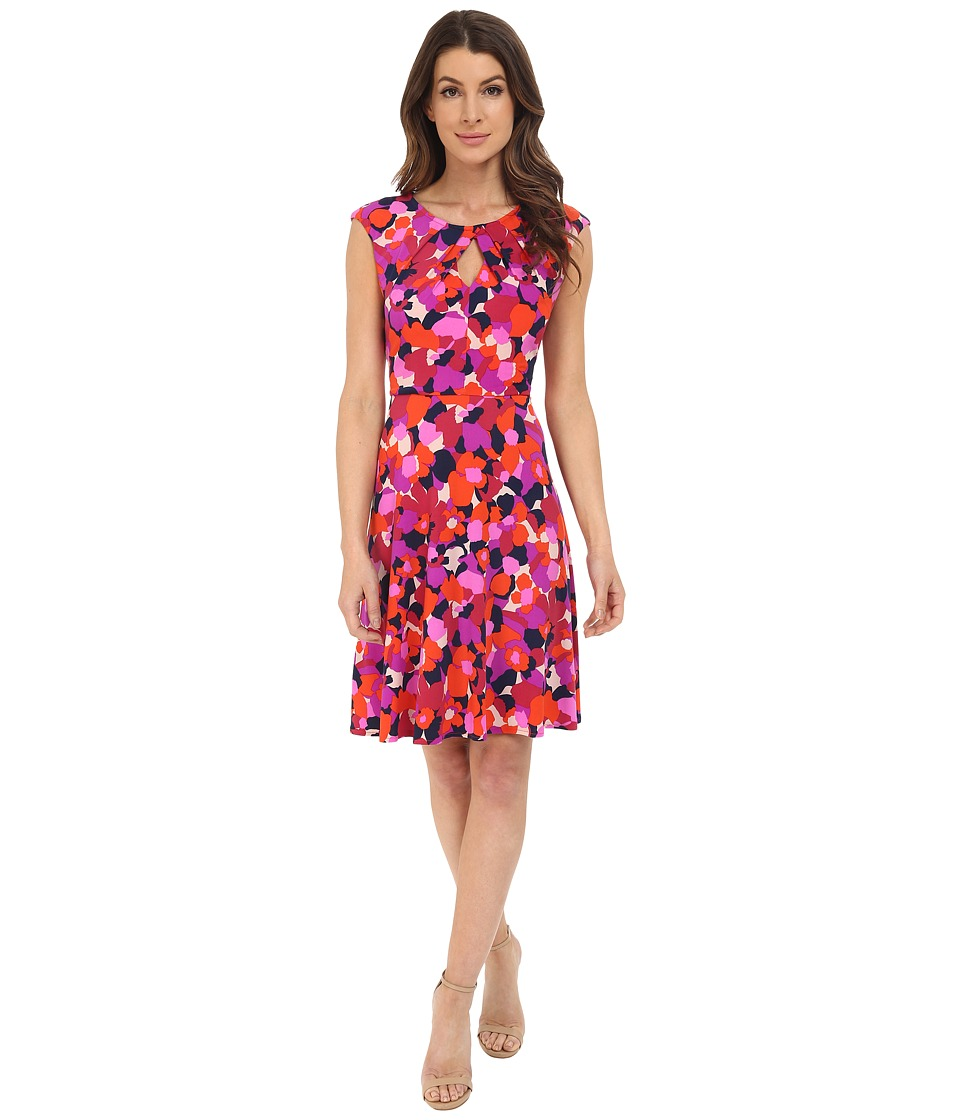 London Times - 70s Flower Fit and Flare (Red) Women's Dress