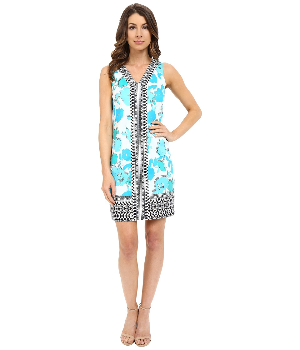 London Times - Cut Out Border V-Neck Shift (White Turquoise) Women's Dress