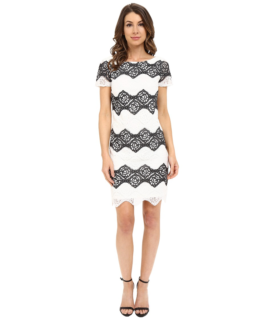 London Times - Denim Lace Stripe Shift (Black/White) Women's Dress