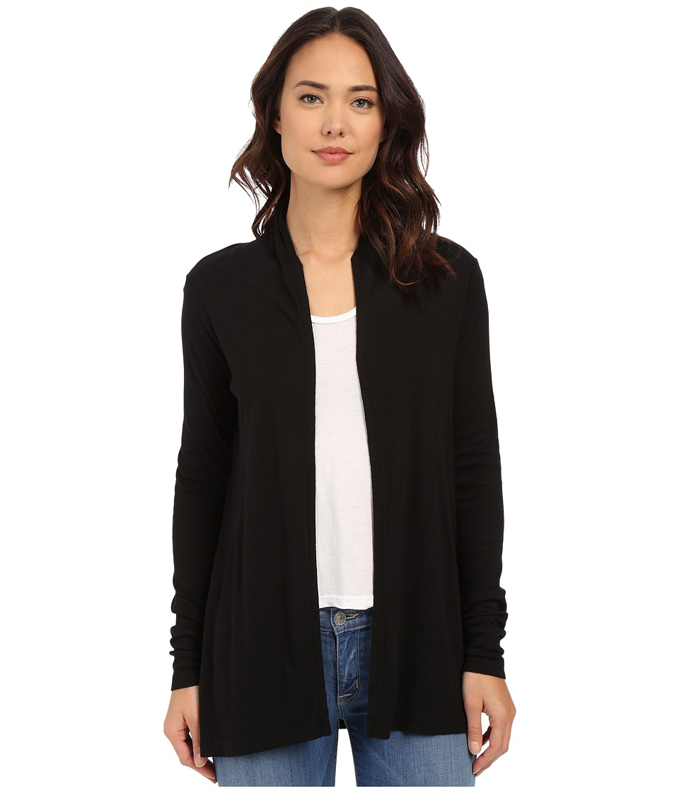 Michael Stars - Slub Long Sleeve Open Cardigan (Black) Women's Sweater