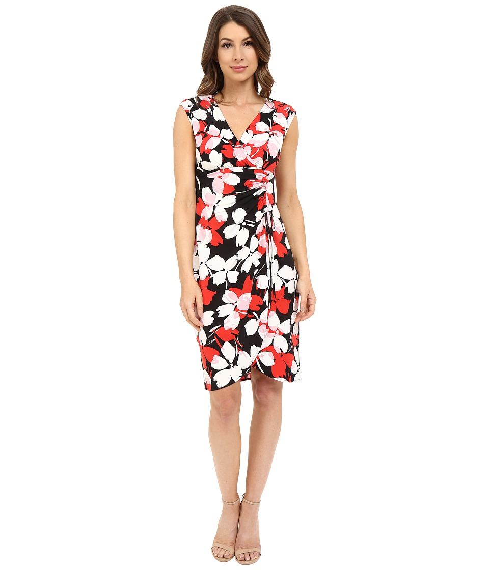 London Times - Flat Blossom Side Ruch Sheath (Red) Women's Dress