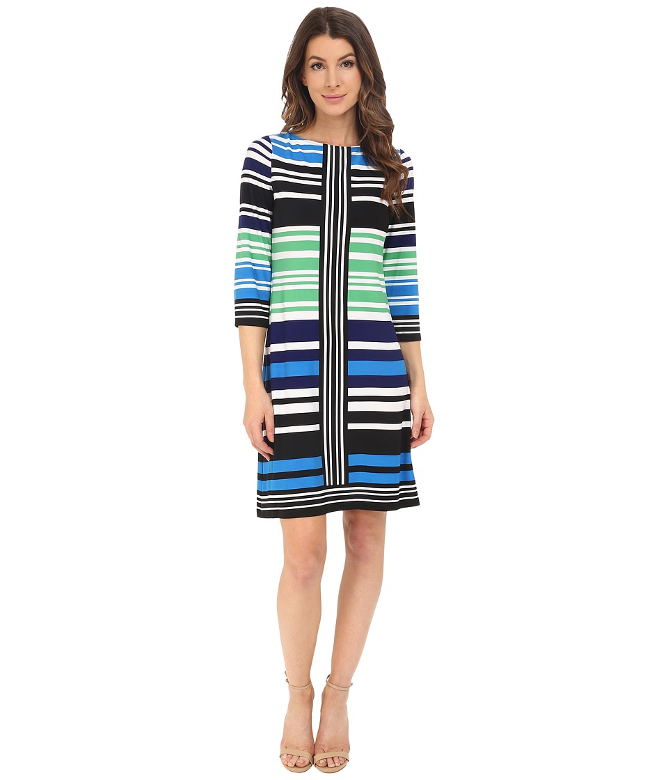 London Times - 3/4 Sleeve Striped Shift (Blue Multi) Women's Dress