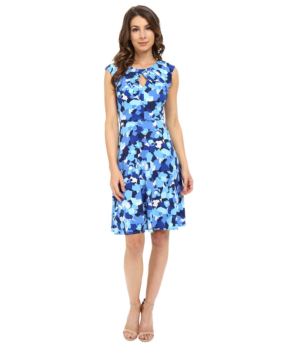 London Times - 70s Flower Fit and Flare (Blue) Women's Dress