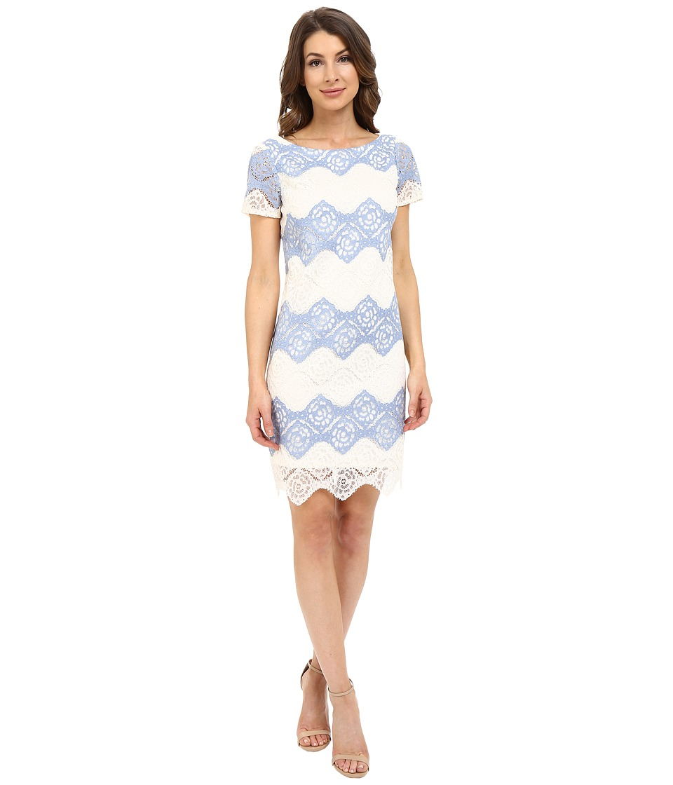 London Times - Denim Lace Stripe Shift (Blue/Ivory) Women's Dress