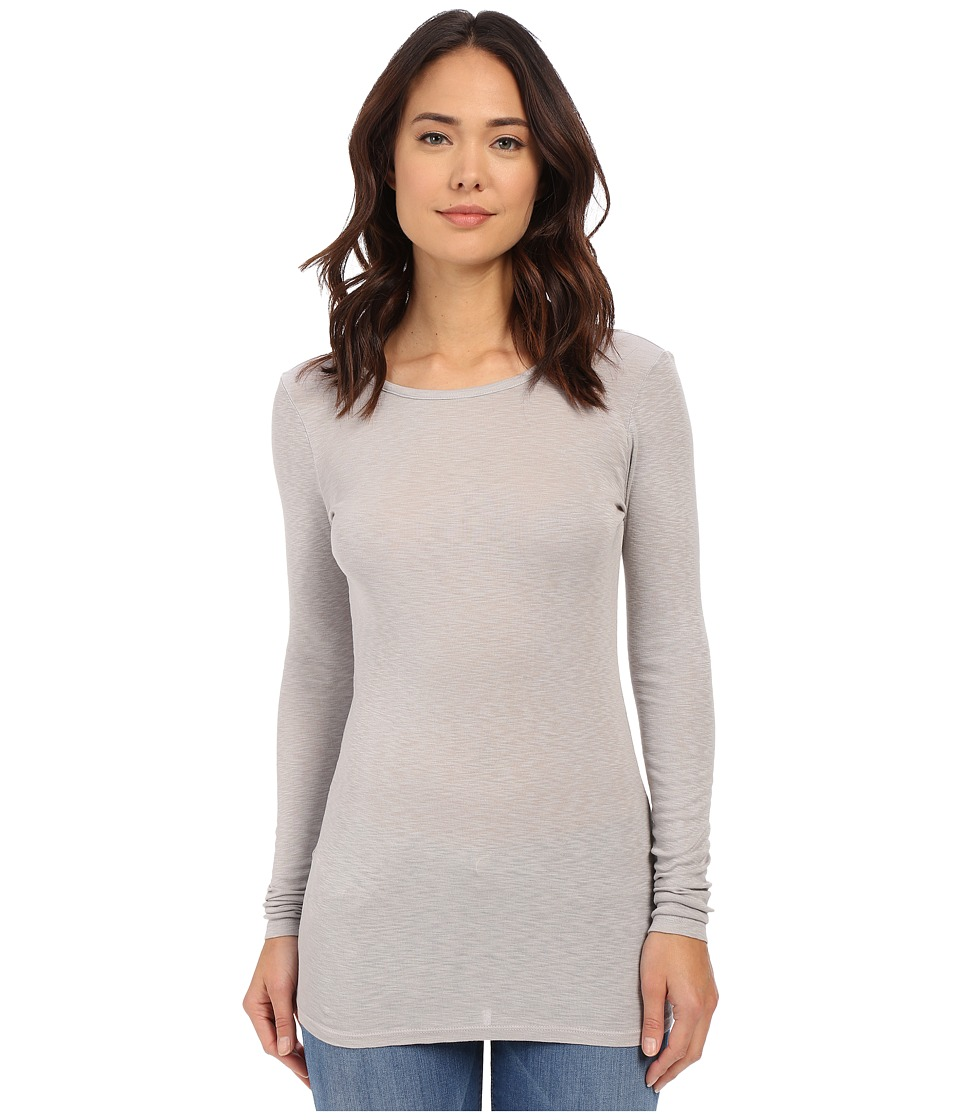 Michael Stars - Slub Long Sleeve Scoop Neck Tunic (Oyster) Women's Long Sleeve Pullover