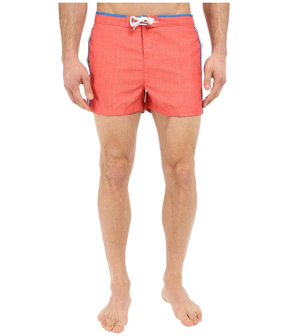 Original Penguin - Athletic Side Striped Fixed Box (Spiced Coral) Men's Swimwear