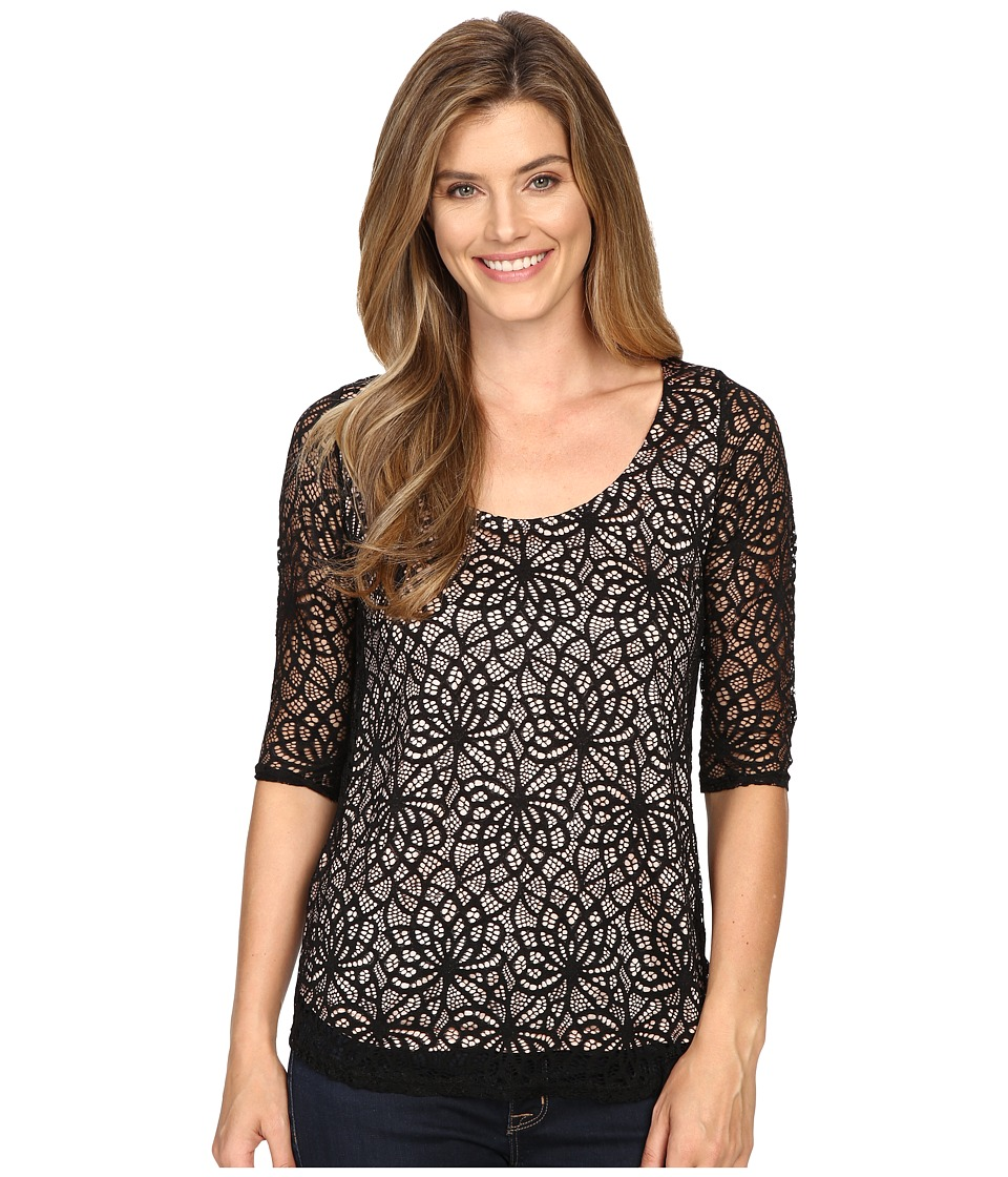 Roper - 0430 All Over Lace Tee (Black) Women's T Shirt
