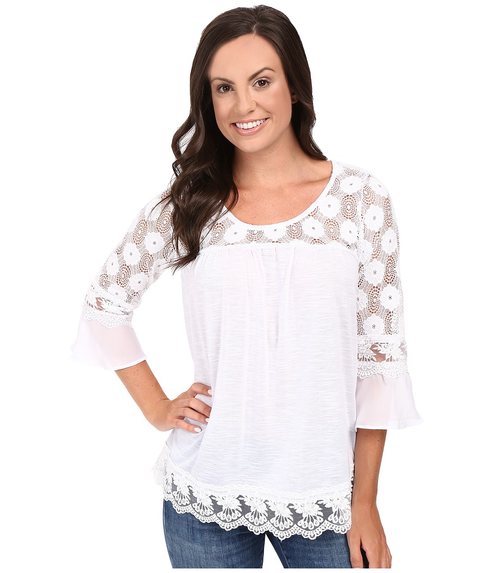 Roper - 0427 Poly Slub Jersey Top (White) Women's Clothing